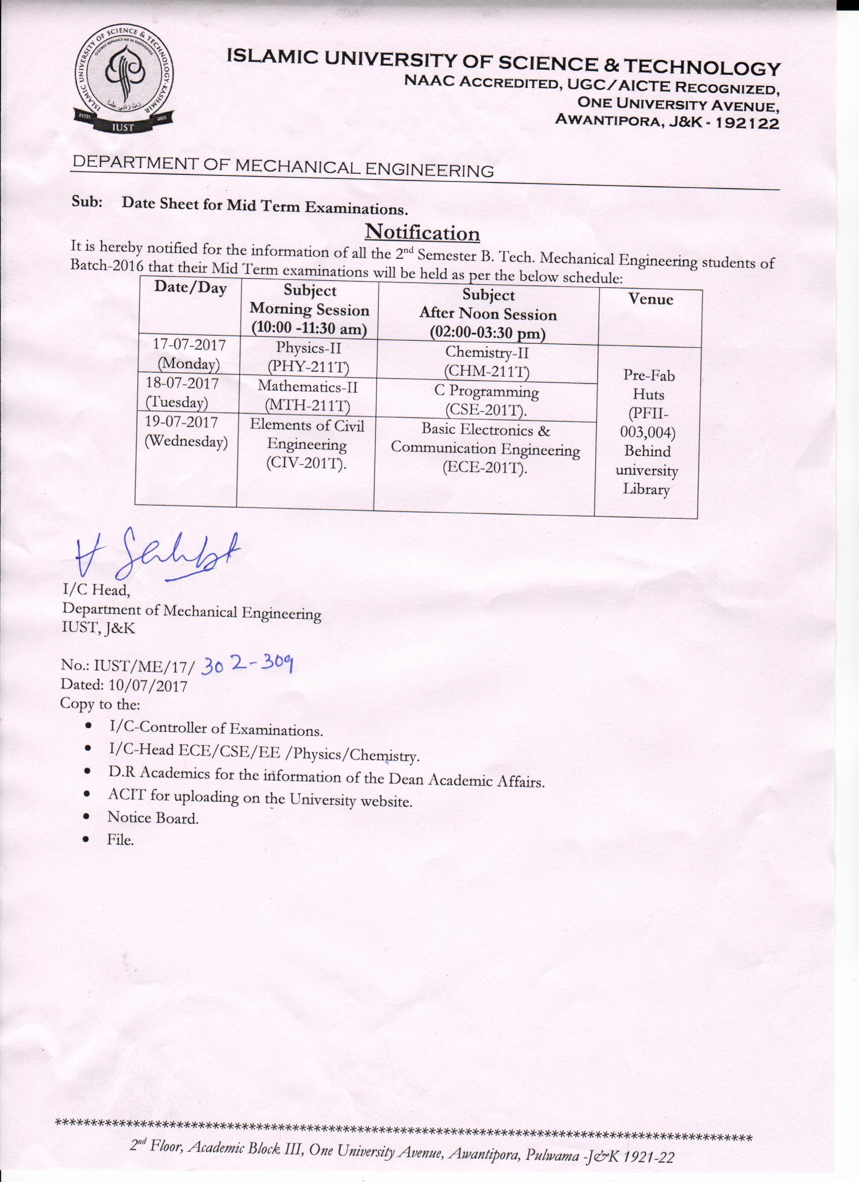 Mid Term Examinations Date Sheet of the department of Mechanical Engineering